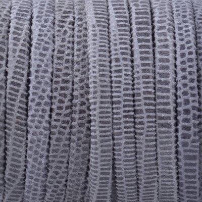 Grijs Plat nappa Leer Grey reptile 3x1.5mm - prijs per 10cm