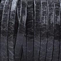 Zwart Plat nappa Leer Shiny black crackle 3x1.5mm - prijs per 10cm