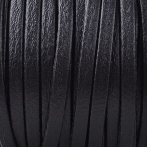Zwart Plat nappa Leer Black 3x1.5mm - prijs per 10cm