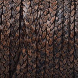 Zwart Plat gevlochten leer Vintage zwart naturel 3x2mm - prijs per 20cm