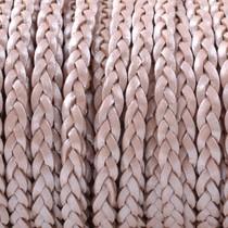 Roze Plat gevlochten leer Licht roze metallic 3x2mm - prijs per 20cm