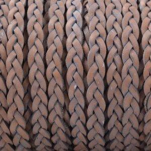 Grijs Plat gevlochten leer Vintage naturel grijs 3x2mm - prijs per 20cm