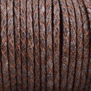 Bruin Rondgevlochten leer Vintage bruin wit 3mm - prijs per 20cm