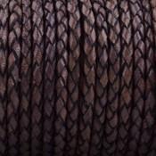 Bruin Rondgevlochten leer Vintage donker bruin aubergine 3mm - prijs per 20cm