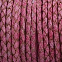 Roze Rondgevlochten leer Vintage cherry pink 3mm - prijs per 10cm