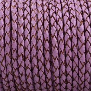 Paars Rondgevlochten leer Lilac pink 3mm - prijs per 20cm