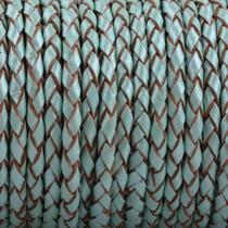 Turquoise Rondgevlochten leer Turquoise aqua metallic 3mm - prijs per 10cm