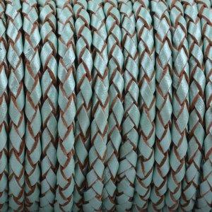 Turquoise Rondgevlochten leer Turquoise aqua metallic 3mm - prijs per 20cm