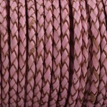 Roze Rondgevlochten leer Old pink 3mm - prijs per 10cm