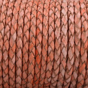 Oranje Rondgevlochten leer Vintage oranje 3mm - prijs per 20cm
