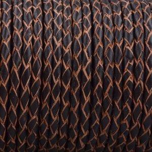 Zwart Rondgevlochten leer Zwart naturel randen 3mm - prijs per 20cm