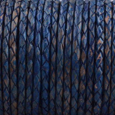 Blauw Rondgevlochten leer Vintage blauw 3mm - prijs per 10cm