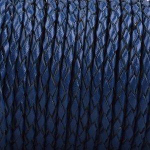 Blauw Rondgevlochten leer Hollands blauw 3mm - prijs per 20cm