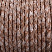 Bruin Rondgevlochten leer Vintage bruin grijs 3mm - prijs per 20cm