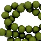 Groen Acryl kralen mat Army green 8mm - 50 stuks