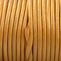 Goud Rond leer Goud metallic 2mm - prijs per meter