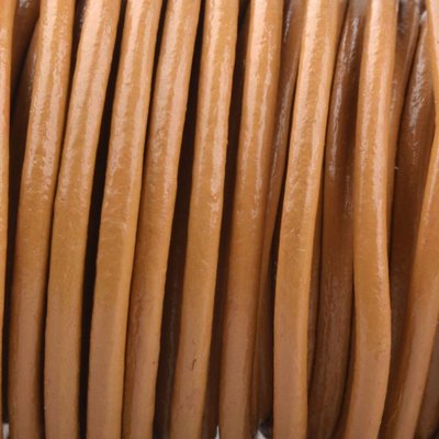 Bruin Rond leer Licht cognac bruin 2mm - prijs per meter