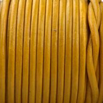 Geel Rond leer Oker geel 2mm - prijs per meter