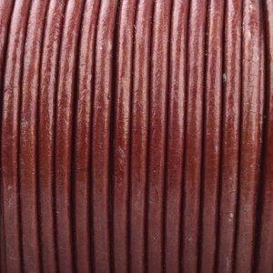 Rood Rond leer Bordeaux rood metallic 2mm - prijs per meter