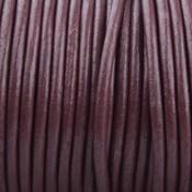 Bruin Rond leer Aubergine bruin 2mm - prijs per meter