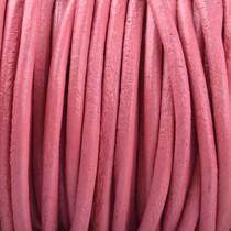 Roze Rond leer Pink 2mm - prijs per meter