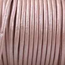 Roze Rond leer Vintage roze metallic 2mm - prijs per meter