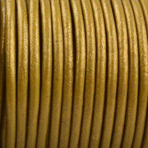 Goud Rond leer Donker goud metallic 2mm - prijs per meter