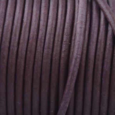 Bruin Rond leer Vintage aubergine bruin 2mm - prijs per meter