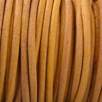 Geel Rond leer Vintage oker geel 2mm - prijs per meter