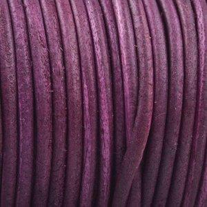 Paars Rond leer Vintage aubergine paars 2mm - prijs per meter