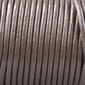 Bruin Rond leer Donker grijs bruin 2mm - prijs per meter
