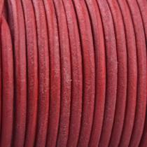 Rood Rond leer Vintage indian red 2mm - prijs per meter