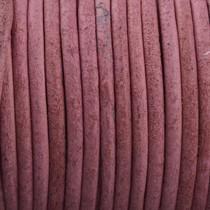 Roze Rond leer Vintage licht aubergine roze 2mm - prijs per meter