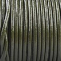 Groen Rond leer Donker leger groen 2mm - prijs per meter