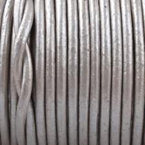 Grijs Rond leer Grijs metallic 2mm - prijs per meter