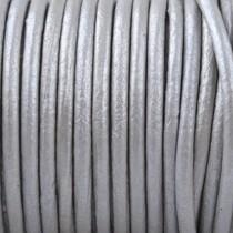 Zilver Rond leer Zilver metallic 2mm - prijs per meter