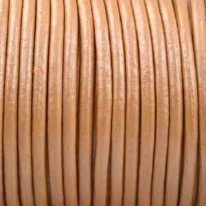 Oranje Rond leer Oranje metallic 2mm - prijs per meter