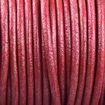 Rood Rond leer Rood metallic 2mm - prijs per meter
