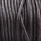 Bruin Rond leer Donker bruin metallic 2mm - prijs per meter