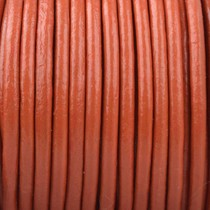 Oranje Rond leer Oranje bruin 2mm - prijs per meter