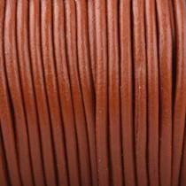 Bruin Rond leer Oranje cognac bruin 2mm - prijs per meter
