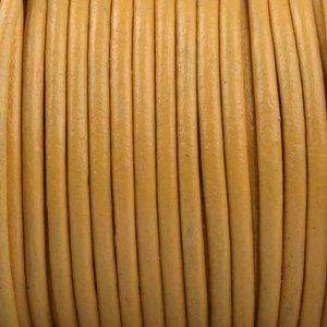 Geel Rond leer Licht oker geel 2mm - prijs per meter