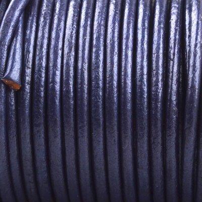 Blauw Rond leer Blauw metallic 2mm - prijs per meter