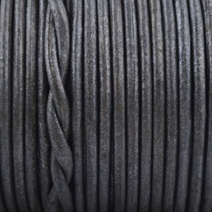 Grijs Rond leer Zwart grijs metallic 2mm - prijs per meter