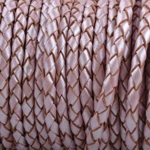 Roze Rondgevlochten leer Roze metallic 4mm - prijs per 10cm