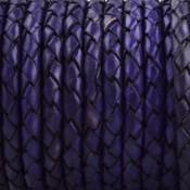 Blauw Rondgevlochten leer Violet blauw 4mm - prijs per 20cm