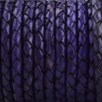 Blauw Rondgevlochten leer Violet blauw 4mm - prijs per 10cm
