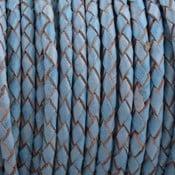 Blauw Rondgevlochten leer Vintage licht blauw 4mm - prijs per 20cm