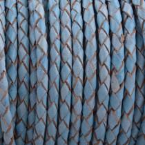 Blauw Rondgevlochten leer Vintage licht blauw 4mm - prijs per 10cm