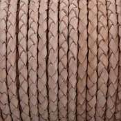 Bruin Rondgevlochten leer Licht naturel 4mm - prijs per 20cm